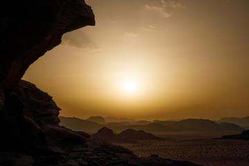 Sunset in the Wadi Rum Desert in Jordan