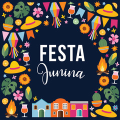 Festa junina, Brazilian june party. Greeting card, invitation. Latin American holiday. Vector illustration background with garland of flags, fire, straw hats, stars, corn, monstera and sunflowers.
