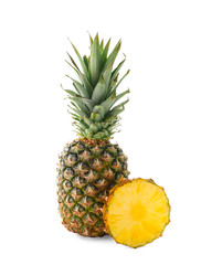 Delicious pineapple and slice on white background