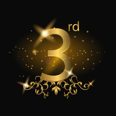 3rd anniversary logo with gold color