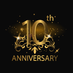 10th anniversary logo with gold color