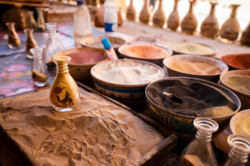 Sand Bottle craft made in Petra Jordan