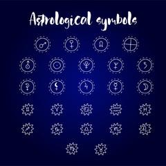 Astrology doodle symbols. Set of astrological graphic design elements.