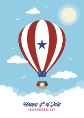 Cartoon 4th July Hot Air Balloon