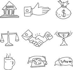 Set of decorative business symbols isolated on white.