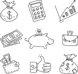 Set of business decorative objects isolated on white.