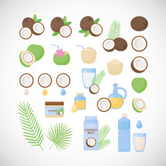 Coconut vector flat icon set