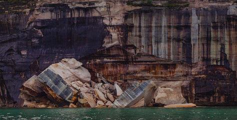 Pictured rocks national park on the Lake Superior, USA. Colorful textured rocks background