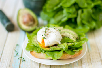 Egg-poached with ciabatta, avocado and baby lettuce leaves