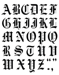 font  gothic alphabet vector  template