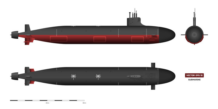 Detailed image of submarine. Military ship. Top, front and side view. Battleship model. Industrial drawing. Warship in realistic style