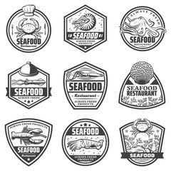 Vintage Monochrome Seafood Labels Set