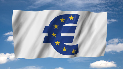 The Euro flag in 3d, waving in the wind, on sky background.