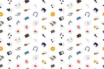 Music background from color icon. Multicolor vector pattern