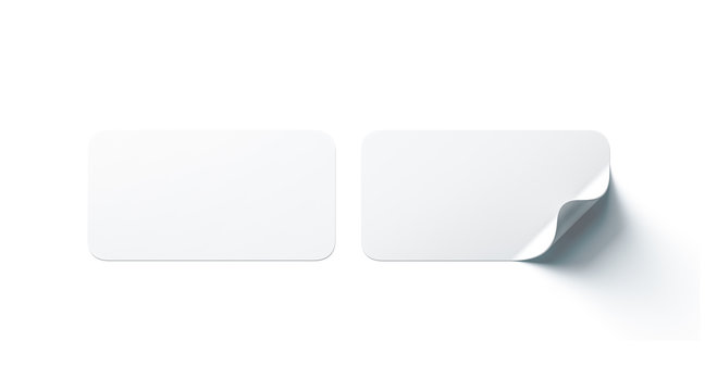 Blank white rectangle adhesive stickers mock up with curved corner, 3d rendering. Empty oblong sticky label mockup with curl. Clear adherent tag template for glass door or wall.