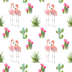 Seamless pattern with tropical bird flamingo, cactus, succulents and floral elements on white background. Vintage watercolor botanical illustration for textile, print, invitation, party. Tropical