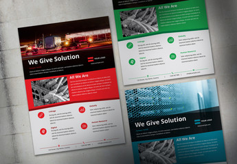 Flyer Layout with Colorful Headers