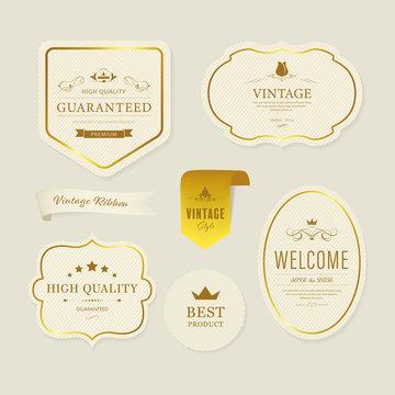 Vintage element banner label and decoration and gold frame.