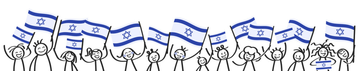 Cheering crowd of happy stick figures with Israeli national flags, smiling Israel supporters, sports fans isolated on white background