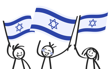 Cheering group of three happy stick figures with Israeli national flags, smiling Israel supporters, sports fans isolated on white background