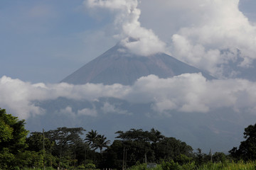 The Fuego volcano spews out a plume of ash and smoke as seen from El Rodeo in Escuintla