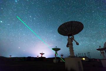 Radio Telescope view at night with milky way in the sky Fotoväggar