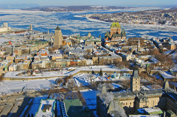 Quebec Lower City, St. Lawrence River in winter, Quebec, Canada. Historic District of Quebec City is UNESCO World Heritage Site since 1985.