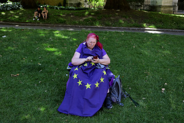 Harmony Birch takes a break from an anti-Brexit demonstration in London