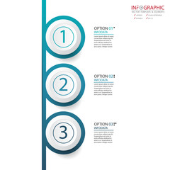 Vector abstract element infographics 3 option. Design for business or finance template layout, brochure, workflow, information or presentation and other. Infographis timeline path. Abstract 3D vector.
