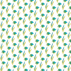 Pattern Sea with fish and seaweed on background. Vector illustration