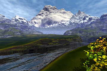 Mountains, an alpine landscape, beautiful river, grass on the ground, snow on the peaks and a cloudy sky.