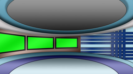 Virtual TV news studio set with green screens