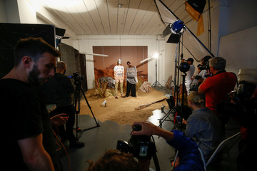 A photoshoot takes place at the Astrid Andersen presentation London Fashion Week Men's, in London