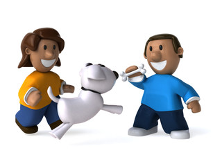 Happy kids and dog - 3D Illustration