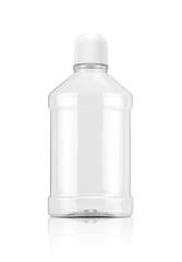 mouthwash transparent plastic bottle isolated on white background