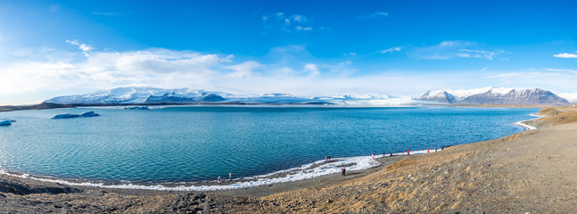 Panorama view of Jokulsarlone iceberg lagoon in Iceland