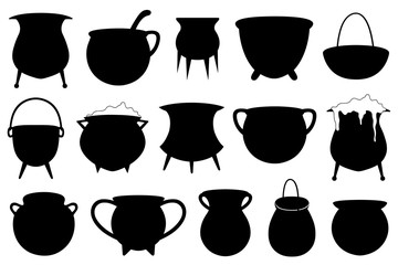 Set of different Halloween witches pots isolated on white