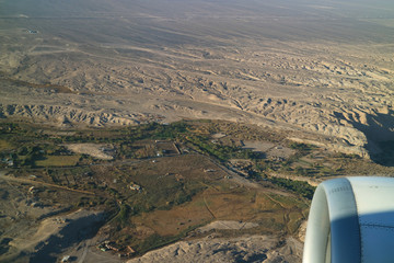 Aerial view of Northern Chile's highland seen from plane window while landing, Chile, South America