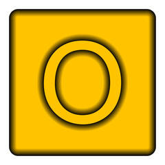 Yellow square icon with a symbol (O)