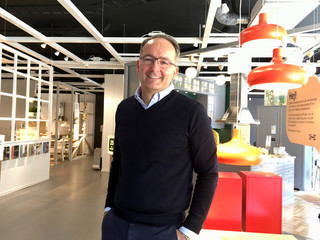 IKEA Group CFO Maeztu poses at an IKEA kitchen showroom in downtown Stockholm
