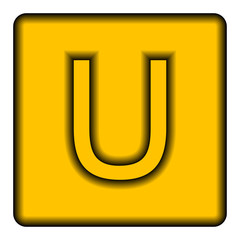 Yellow square icon with a symbol (U) on a white background