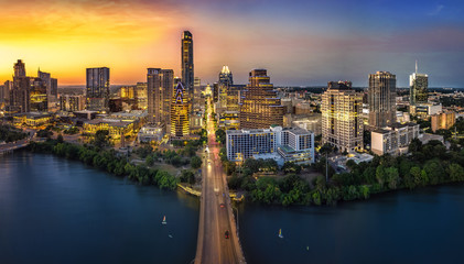 Fototapete - Austin Skyline with sunset