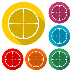 Hunting sight icon, color icon with long shadow