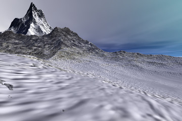 Mountains, a rocky landscape, snow on the ground and colored clouds in the sky.