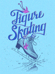 Figure skating. Vector illustration. Blue background.