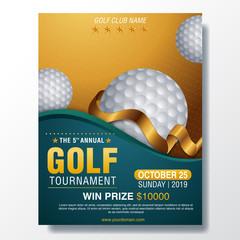 Golf tournament poster template. Flyer design