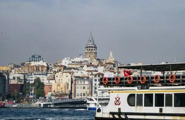 Galata Tower from Bosphorus, Istanbul, Turkey