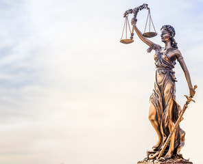 Legal law concept image - Scales of Justice and sky background