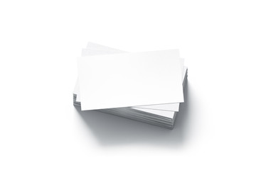 Blank white business cards stack mock up, 3d rendering. Namecard design mockup. Visiting clear papers top view. Calling papersheet template for company name, phone number, email address.