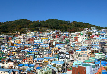Gamcheon cultural village on the mountain in Busan, South Korea. The area is known for its brightly painted houses.